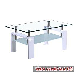 TEMPO KONDELA Konferenčný stolík, biela extra vysoký lesk HG, LIBOR NEW