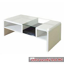 TEMPO KONDELA Konferenčný stolík, biela/sklo, SHAPE