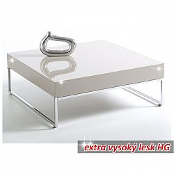 TEMPO KONDELA Konferenčný stolík, chróm/biela extra vysoký lesk HG, BOTTI