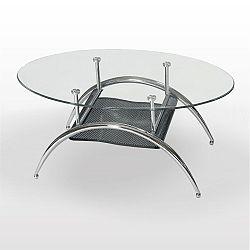 TEMPO KONDELA Konferenčný stolík, chróm/sklo, ANDRE - JONAS