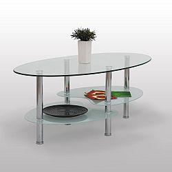 TEMPO KONDELA Konferenčný stolík, chróm/sklo, SANY
