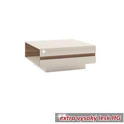 TEMPO KONDELA Konferenčný stolík, dub sonoma tvavý truflový/biela extra vysoký lesk HG, LYNATET TYP 70