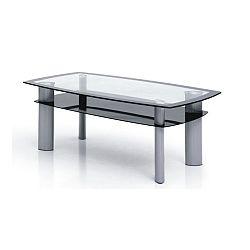 TEMPO KONDELA Konferenčný stolík, kov strieborný/sklo čierne a číre, STANLEY TT-585A