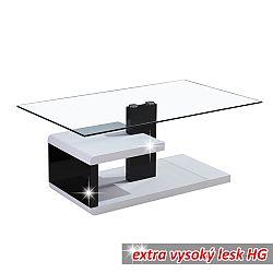 TEMPO KONDELA Konferenčný stolík, MDF+číre sklo, biela/čierna s extra vysokým leskom HG, LARS