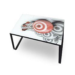 TEMPO KONDELA Konferenčný stolík, oceľ/sklo/motív, BALY