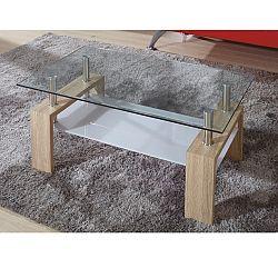 TEMPO KONDELA Konferenčný stolík, sklo/dub sonoma, LIBOR