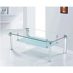 TEMPO KONDELA Konferenčný stolík, sklo/strieborný, RICKY