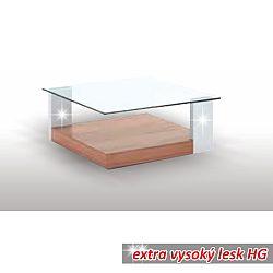 TEMPO KONDELA Konferenčný stolík, slivka/biela extra vysoký lesk HG/sklo, EMIL