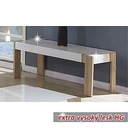 TEMPO KONDELA Konferenčný stolík, vysoký biely lesk/dub sonoma, ANDREAS CT