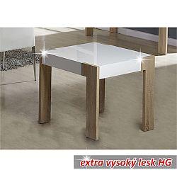 TEMPO KONDELA Konferenčný stolík, vysoký biely lesk/dub sonoma, ANDREAS LT