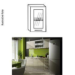 TEMPO KONDELA Kuchynská skrinka, ľavá, strieborné orámovanie/sklo, IRYS GW-40