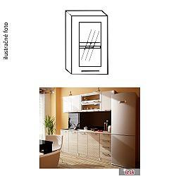 TEMPO KONDELA Kuchynská skrinka, pravá, strieborné orámovanie/sklo, ITA GW-40