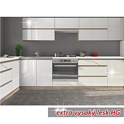 TEMPO KONDELA Kuchynská zostava 2,6m, biely vysoký lesk HG, LINE WHITE