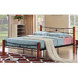 TEMPO KONDELA Manželská kovová posteľ, s roštom, kov+drevo-čerešňa, 160x200, AMARILO