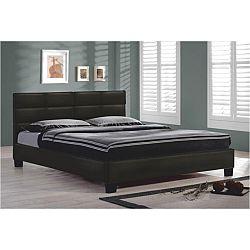 TEMPO KONDELA Manželská posteľ 160x200, čierna textilná koža, MIKEL