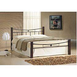 TEMPO KONDELA Manželská posteľ, drevo orech/čierny kov, 160x200, PAULA