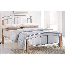 TEMPO KONDELA Manželská posteľ, drevo prírodné/strieborný kov, 140x200, MIRELA
