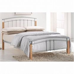 TEMPO KONDELA Manželská posteľ, drevo prírodné/strieborný kov, 180x200, MIRELA