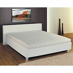 TEMPO KONDELA Manželská posteľ, ekokoža biela, 160x200, DREAM