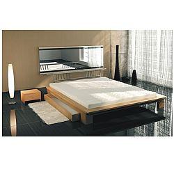 TEMPO KONDELA Manželská posteľ s matracom a roštom, buk, 160x200, KAPITOL 80220