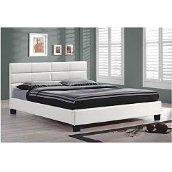TEMPO KONDELA Manželská posteľ s roštom, 160x200, biela textilná koža, MIKEL