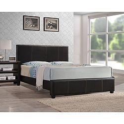 TEMPO KONDELA Manželská posteľ, s roštom, ekokoža tmavo hnedá, 160x200, ATALAYA