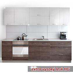 TEMPO KONDELA Moderná kuchynská zostava za fantastickú cenu do každej kuchyne v prevedení orech s leskom/biely lesk HG - CLARITA
