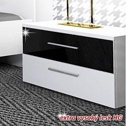 TEMPO KONDELA Nočný stolík, biela/čierny lesk HG, DEVON