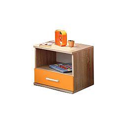 TEMPO KONDELA Nočný stolík, jednozásuvkový, dub sonoma/oranžová, EMIO Typ 05