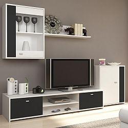 TEMPO KONDELA Obývacia stena, biela/čierna, GENTA