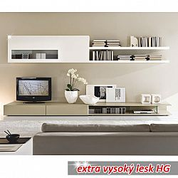 TEMPO KONDELA Obývacia stena, bielo / svetlé capucino extra vysoký lesk HG, DONATELA