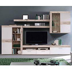 TEMPO KONDELA Obývacia stena, DTD fóliovaná, dub pieskový/biela, VALERIA OS