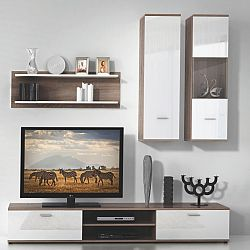 TEMPO KONDELA Obývacia stena, dub truflový/biela, WAW