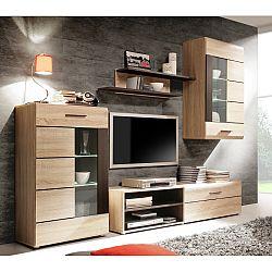 TEMPO KONDELA Obývacia stena s LED osvetlením, dub sonoma/sklo, PRESLI