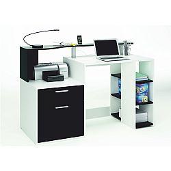 TEMPO KONDELA PC stôl, biela/čierna, MERAKLE