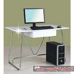 TEMPO KONDELA PC stôl, biela extra vysoký lesk HG, EDGAR