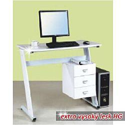 TEMPO KONDELA PC stôl, biela extra vysoký lesk HG, RUBUS
