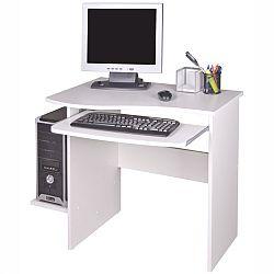 TEMPO KONDELA PC stôl, biela, MELICHAR