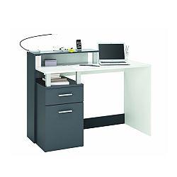 TEMPO KONDELA PC stôl, biela/sivá, MEGAN