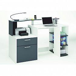 TEMPO KONDELA PC stôl, biela/sivá, MERAKLE
