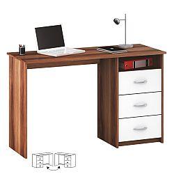TEMPO KONDELA PC stôl, biela/slivka, LARISTOTE
