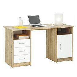 TEMPO KONDELA PC stôl, dub sonoma/biela, 3 zásuvky/skrinka, KARLO
