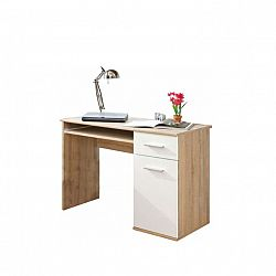 TEMPO KONDELA PC stôl, dub sonoma/biela, EMIO Typ 6