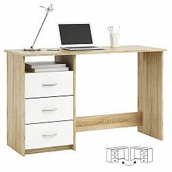 TEMPO KONDELA PC stôl, dub sonoma/biela, LARISTOTE 101000