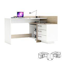 TEMPO KONDELA PC stôl, Ľ/P, rohový, dub sonoma/biela, TALE 484881