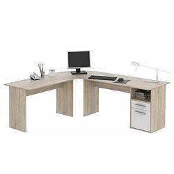 TEMPO KONDELA PC stôl, rohový, dub sonoma/biela, MAURUS MA11