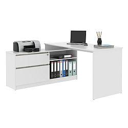 TEMPO KONDELA PC stôl, rohový s policou, biela/beton, BENTOS