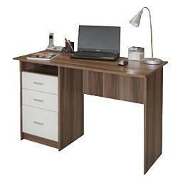 TEMPO KONDELA PC stôl, slivka biela, SAMSON