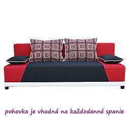 TEMPO KONDELA Pohovka, rozkladacia s úložným priestorom, látka čierna/červená/vankúše červený vzor, ROKAR