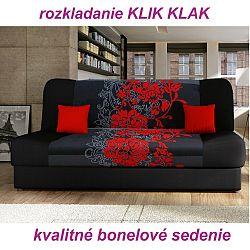 TEMPO KONDELA Pohovka, rozkladacia s úložným priestorom, látka čierna/červený kvet, PLUM